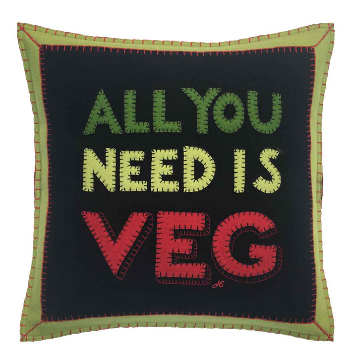 All You Need Is Veg Cushion (Black)