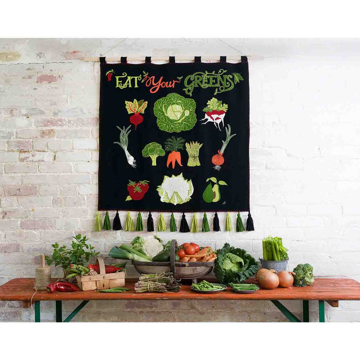 Eat Your Greens Wall Hanging (Black)