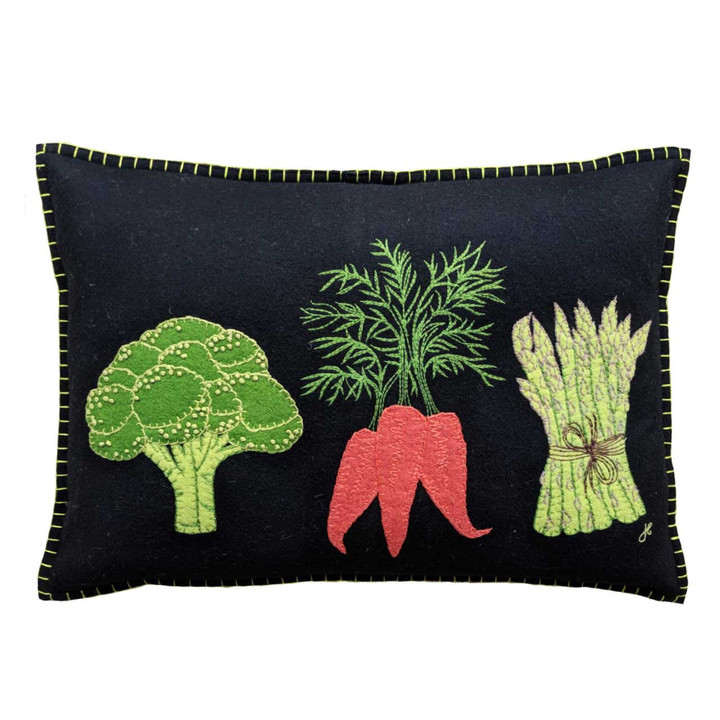 Cream, green and orange Vegetable oblong cushion. Broccoli, Carrots and Asparagus motifs.