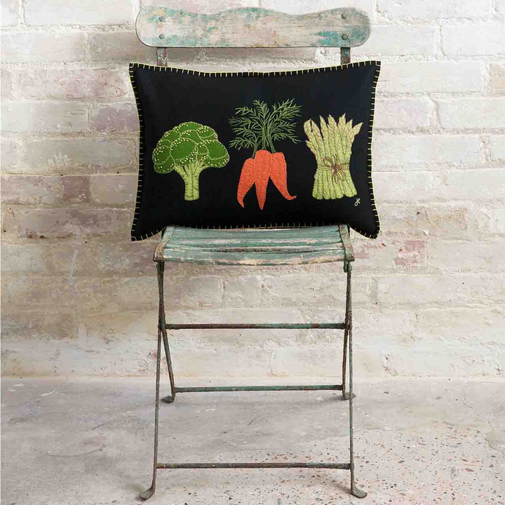 Three Veggies Cushion (Black)