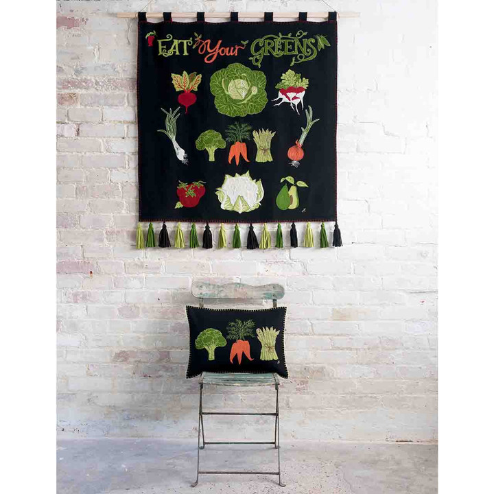 Black Vegetable wall hanging and cushion