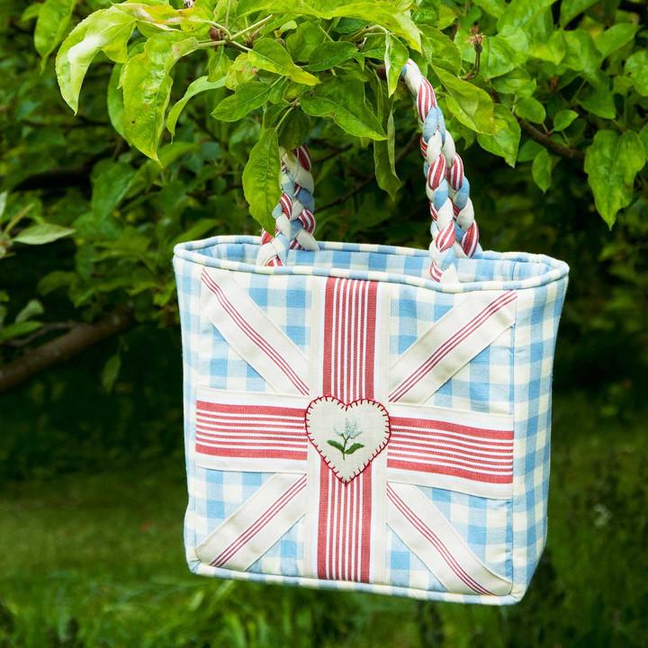 Union Jack bag, hand embroidered, blue gingham summer handbag.