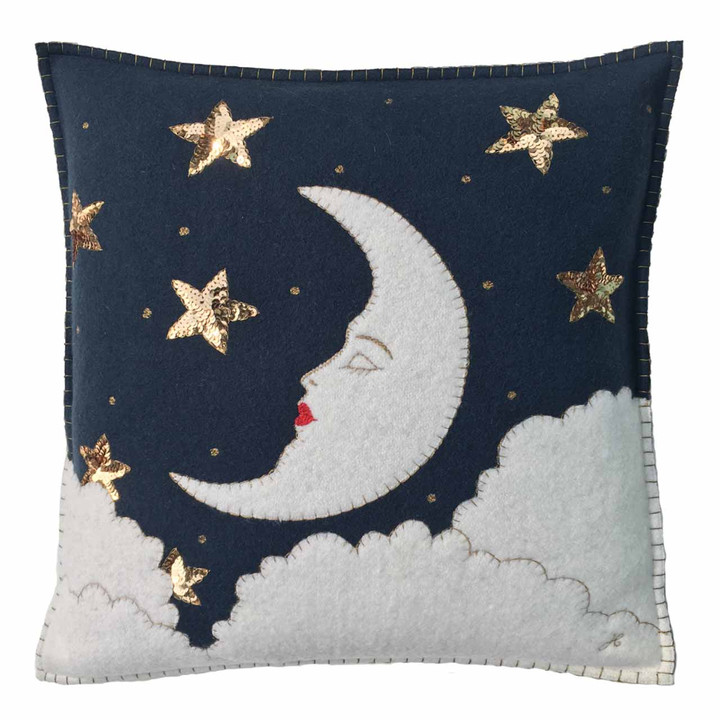Mr Moon Christmas Cushion (Navy Blue)