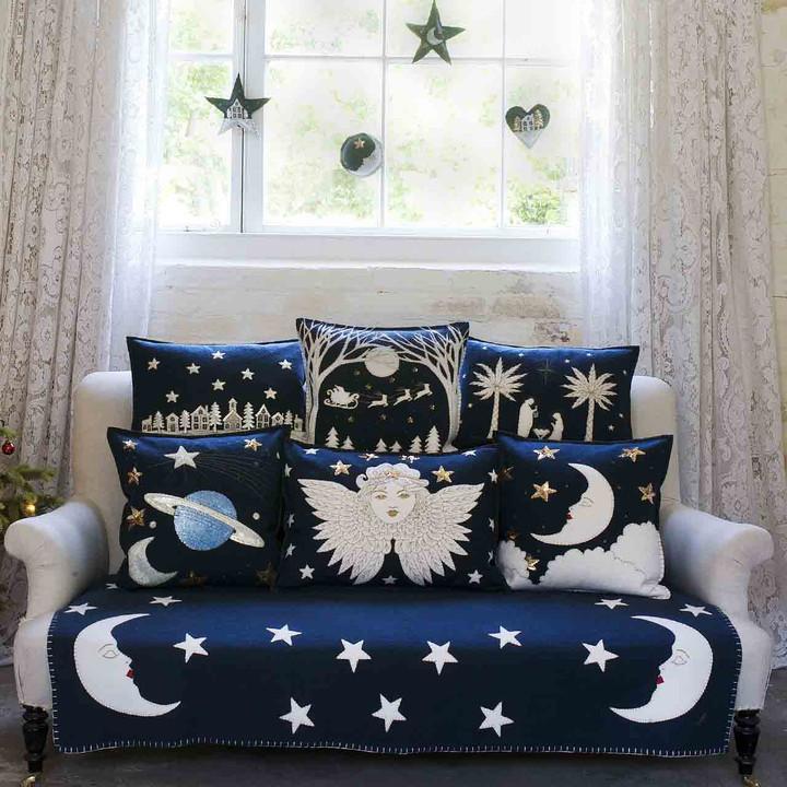 Saturn and Stars Cushion (Navy blue)