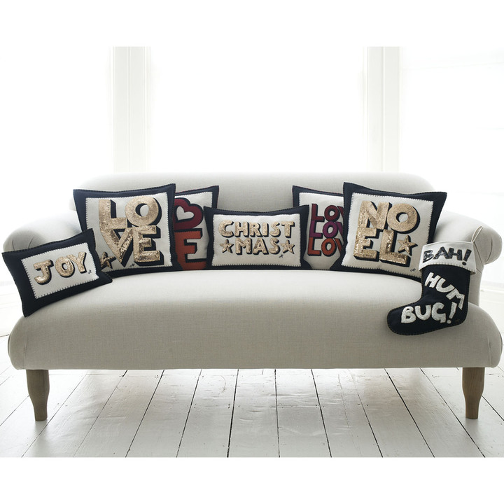 Sequin LOVE cushion (Cream)