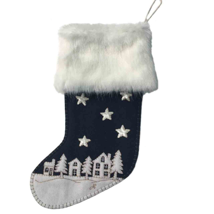 Starry Night Christmas Stocking (Navy blue)