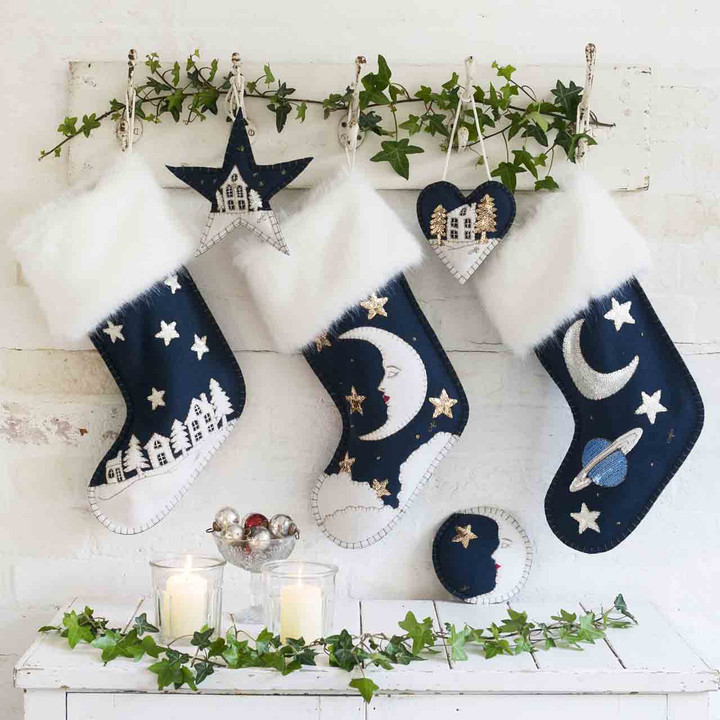 Man in the Moon Christmas Stocking (Navy blue)