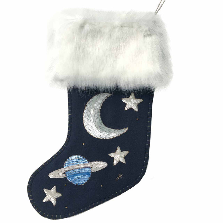 Sequin Galaxy Christmas Stocking (Navy blue)