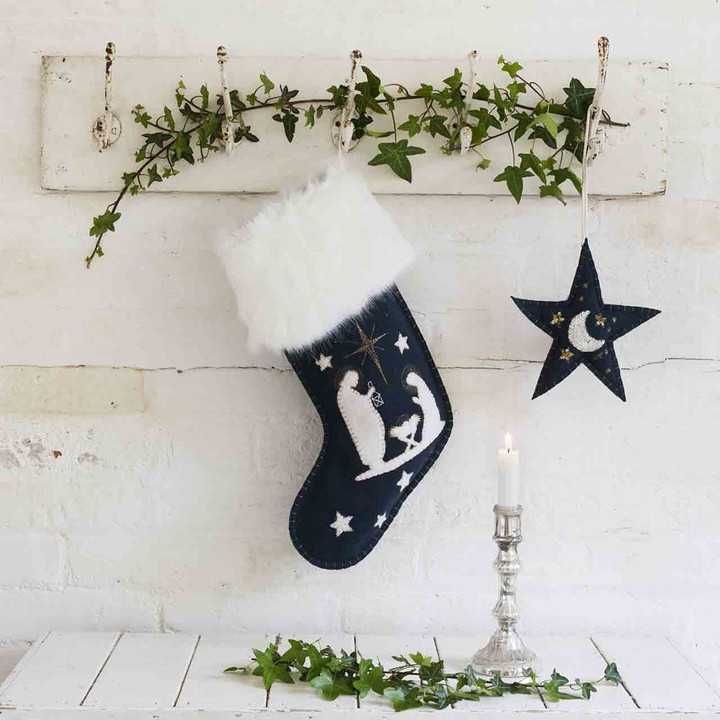 The Nativity Christmas Stocking (Navy blue)