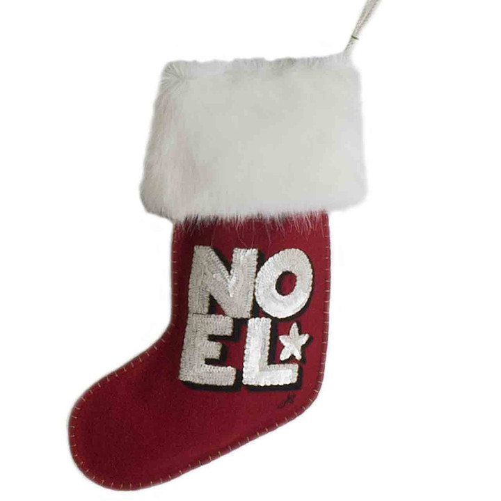 Sequin Noel Christmas Stocking (Red)