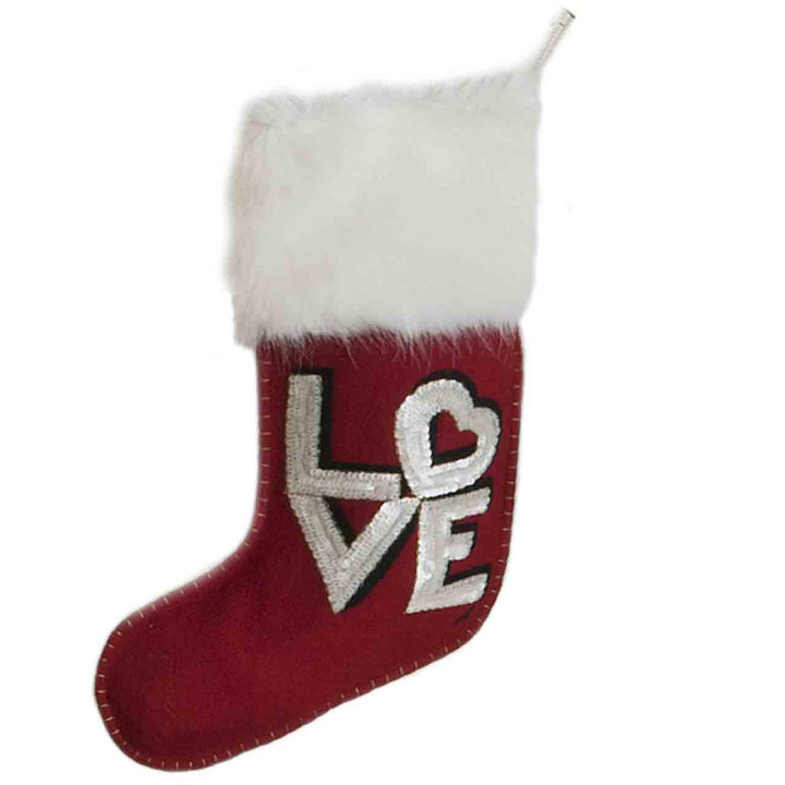 Sequin Love Christmas Stocking (Red)