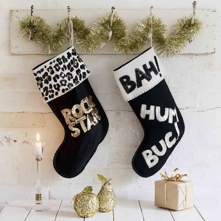 'Bah Hum Bug' Sequin Christmas Stocking (Black)