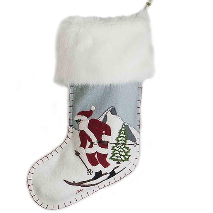 Skiing Santa Christmas Stocking (Duck Egg Blue)