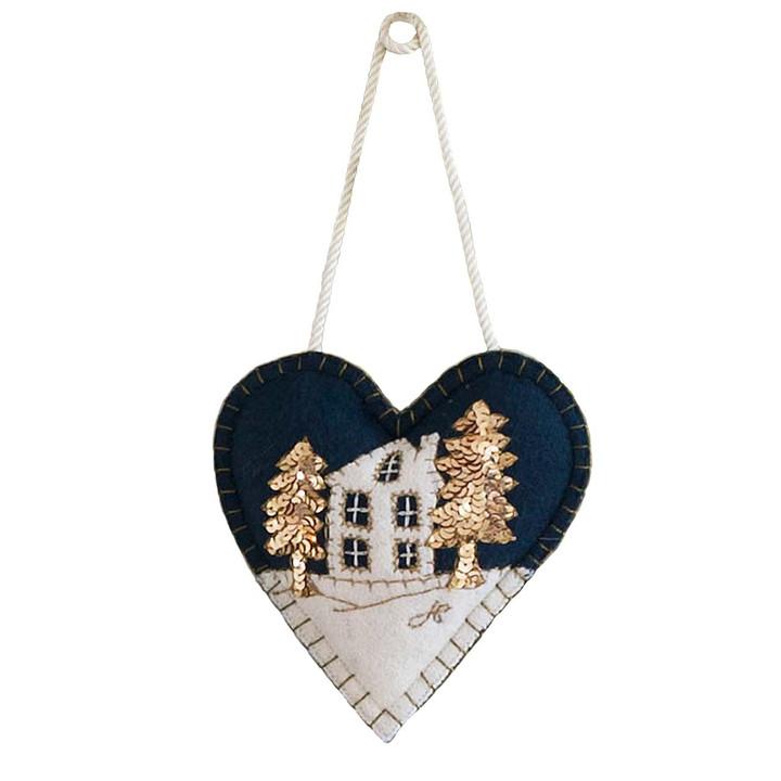 Snowy House Christmas Heart Decoration