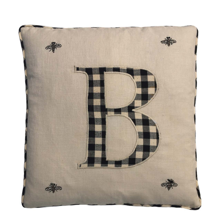 Monogram Bee Cushion (Cream)