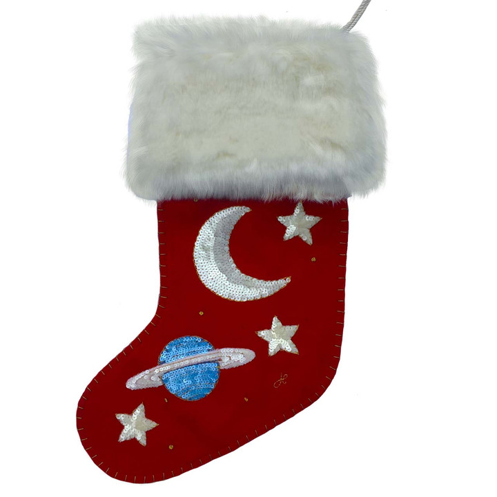 Sequin Galaxy Stocking (Red)