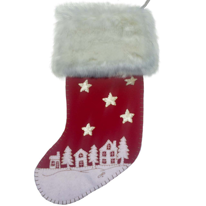 Christmas starry night stocking with sequins and cream faux fur