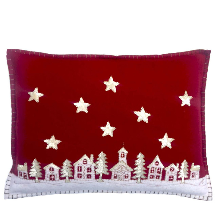 Christmas starry night cushion with sequin stars