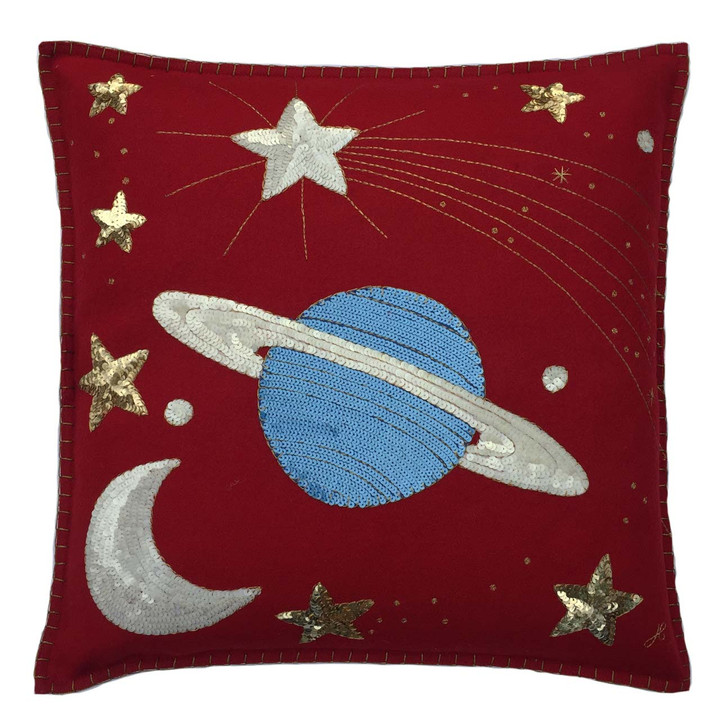 Saturn and Stars Cushion (Red)