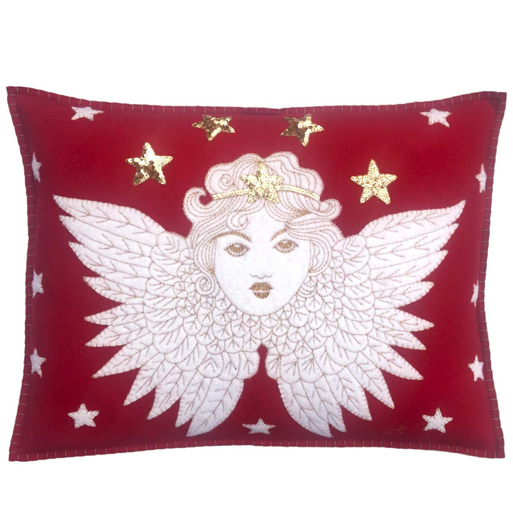Christmas Angel Cushion (Red)