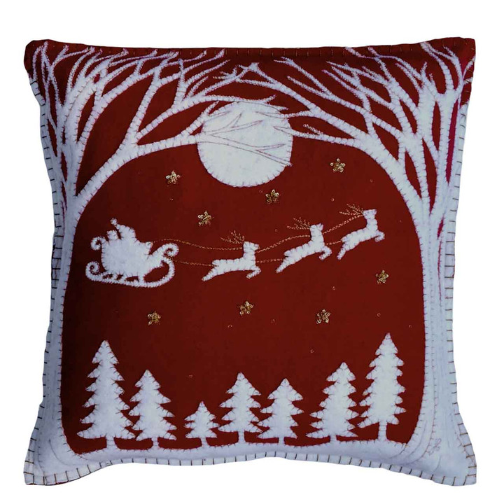 Christmas Eve Cushion (Red)