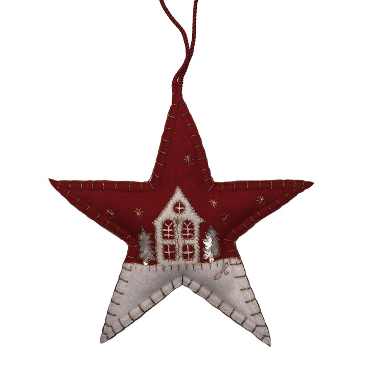 Starry Night Christmas Star Decoration (Red)