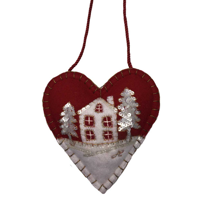 Snowy House Christmas Heart Decoration (Red)