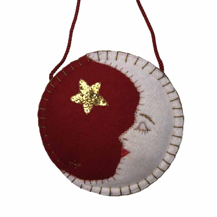 Mr Moon Christmas Decoration (Red)