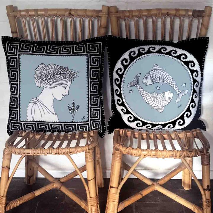 Pisces Cushion (Black)