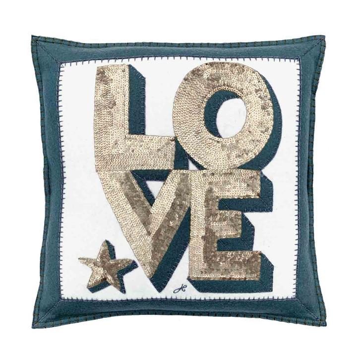 Sequin Love Cushion (Cream/Grey)