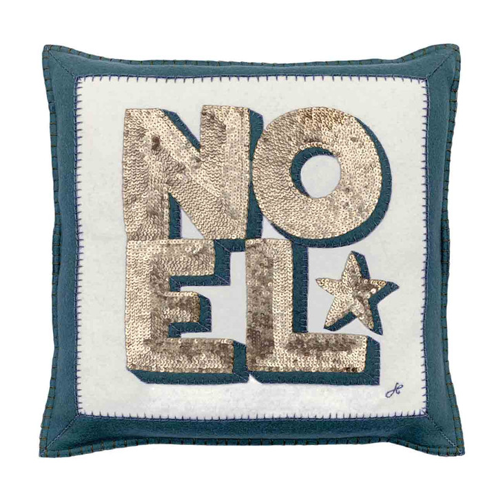 Sequin Noel Cushion (Cream/Grey)