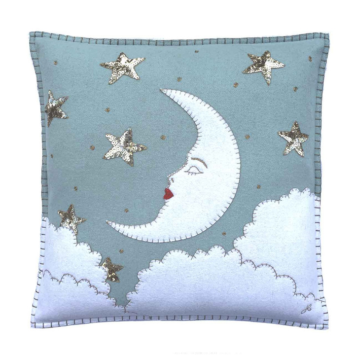 Mr Moon Cushion (Duck Egg Blue)