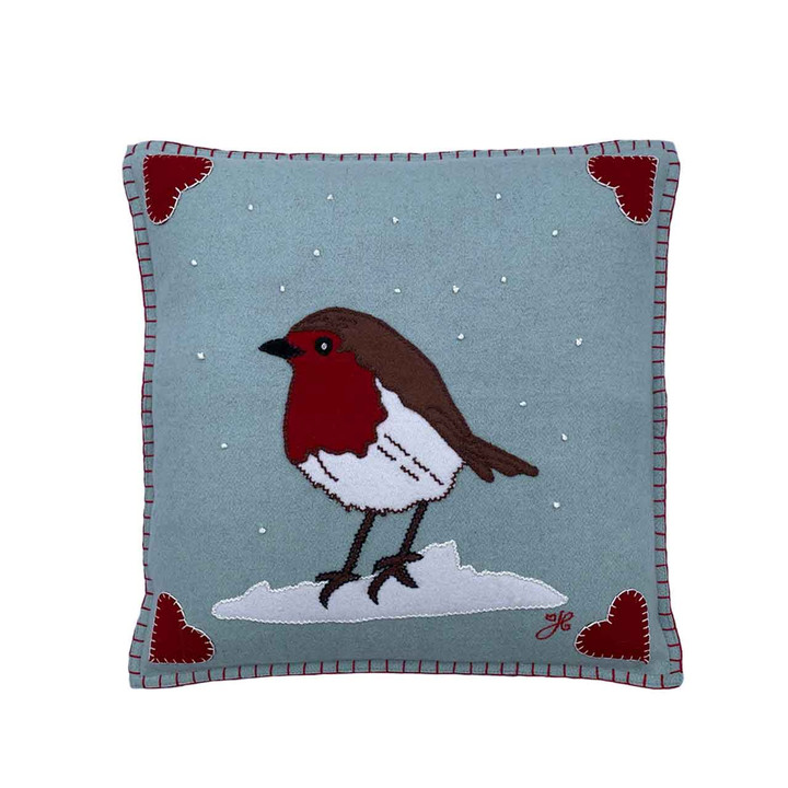 Robin Cushion (Duck Egg Blue)