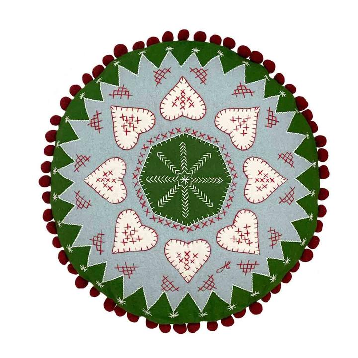 Fair Isle Heart Cushion (Green)