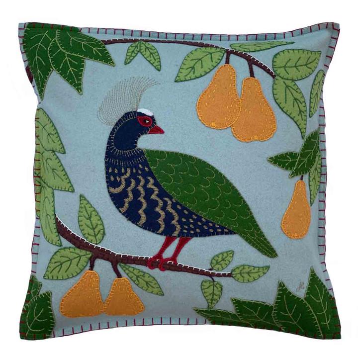 Jan Constantine Partridge in a Pear Tree Cushion (Duck Egg Blue)