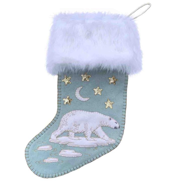 Polar Bear Christmas Stocking (Duck Egg Blue)