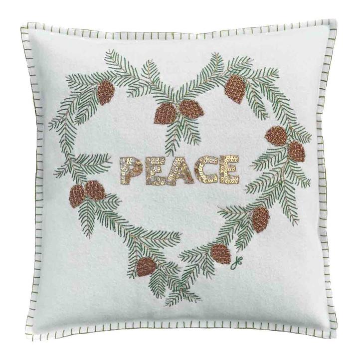 PEACE Fir Heart Cushion (Cream)
