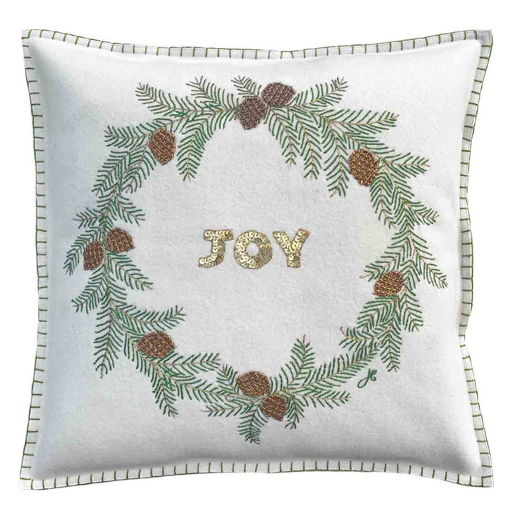 JOY Fir Wreath Cushion (Cream)