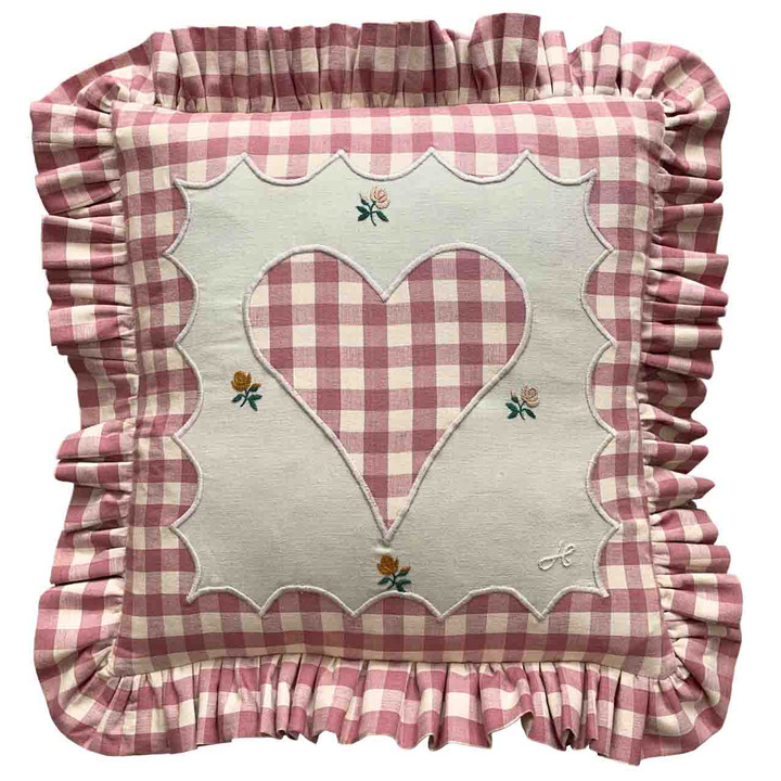 Gingham Frill Heart Cushion (Pink)
