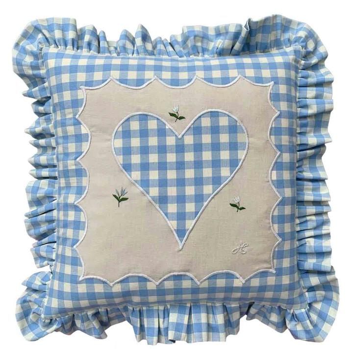Gingham Frill Heart Cushion (Blue)