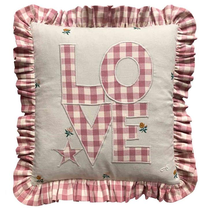 Gingham Frill Love Cushion (Pink)