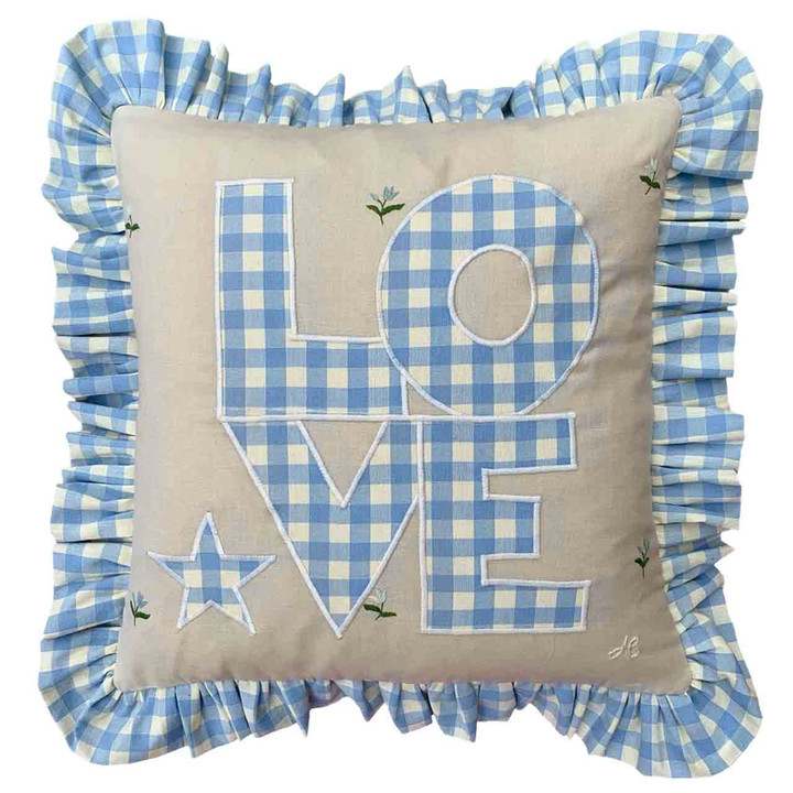 Gingham Frill Love Cushion (Blue)