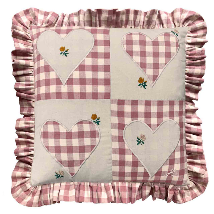 Gingham Frill Patch Cushion (Pink)