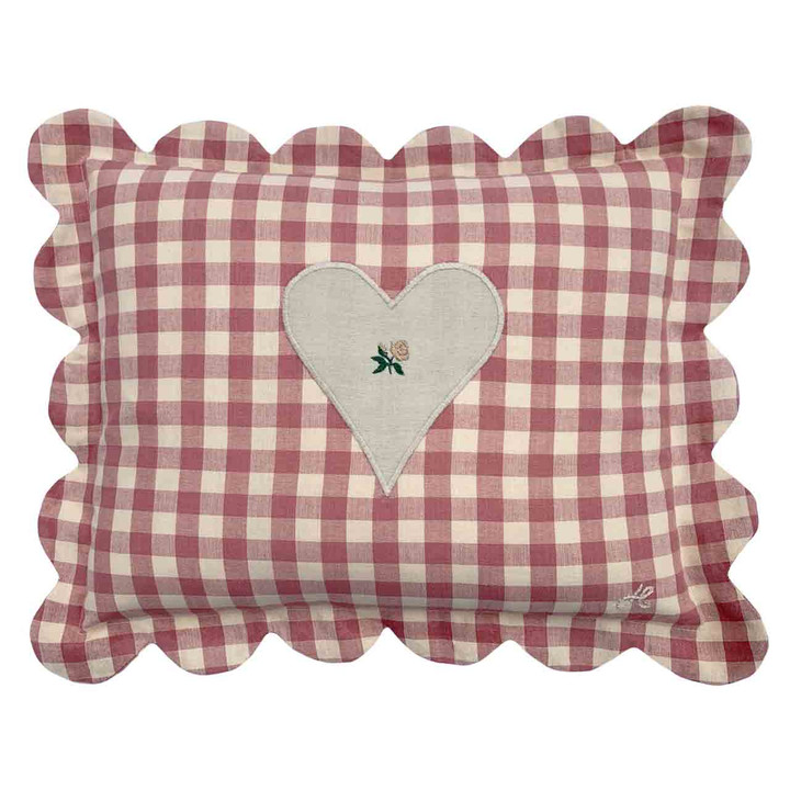 Gingham Scalloped Cushion (Pink)