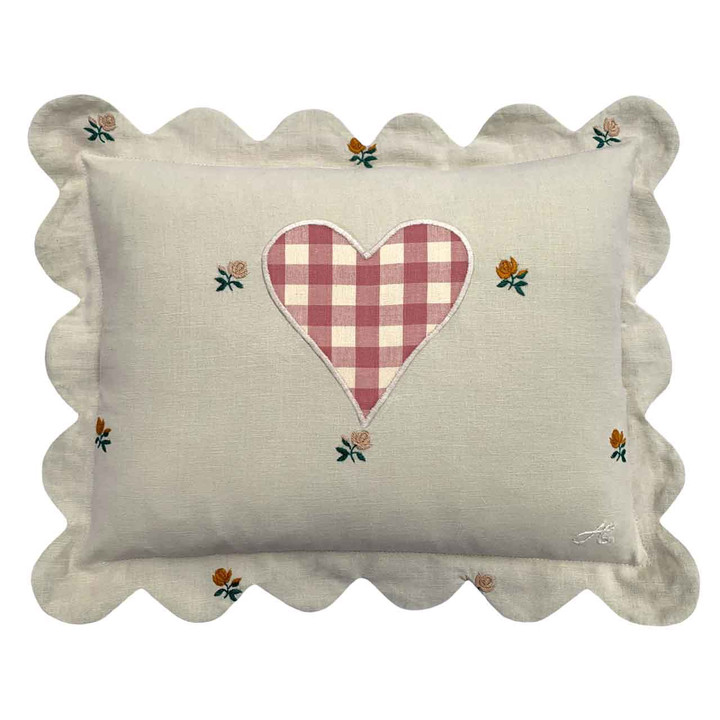 Rose Scalloped Cushion (Pink)