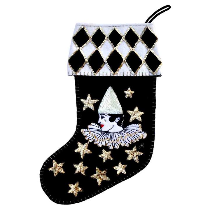 Harlequin Pierrot Velvet Christmas Stocking (BLACK)