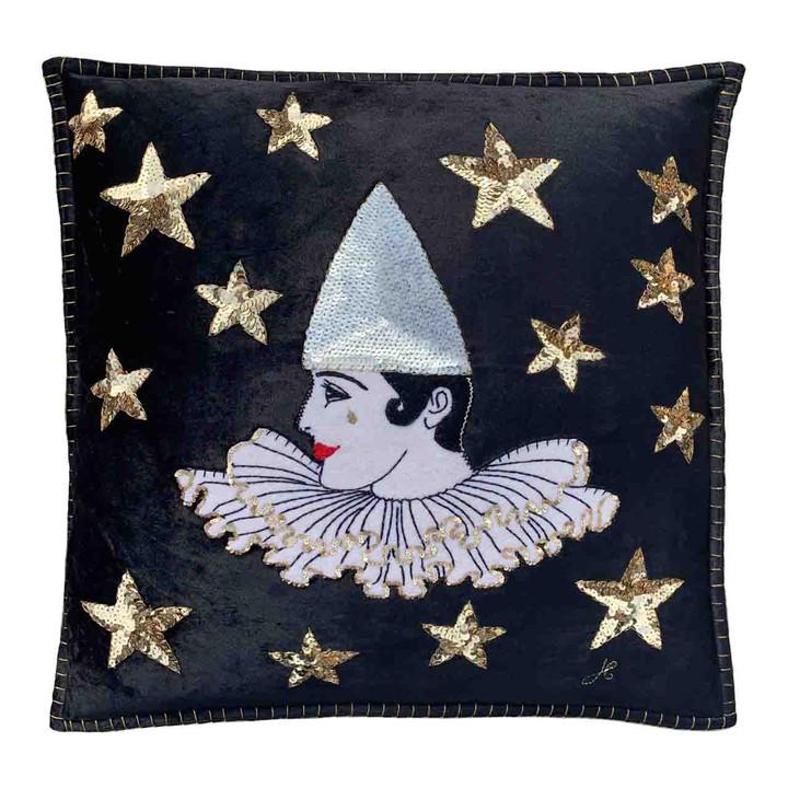 Pierrot Velvet Cushion (Black)