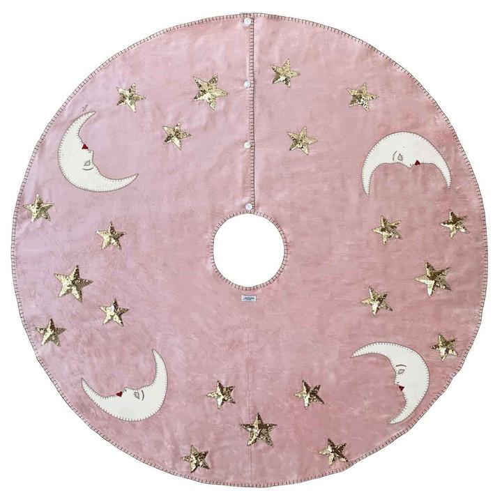 Moon and Stars Velvet Christmas Tree Skirt (Pink)