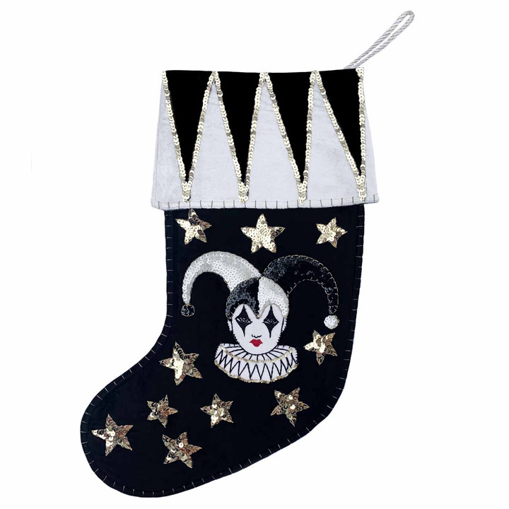 Jester Velvet Christmas Stocking (Black)