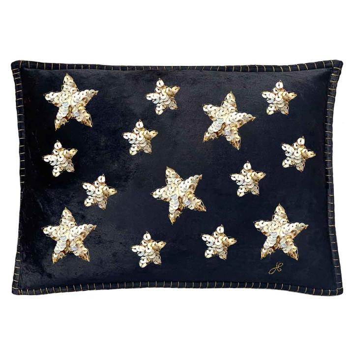 Sequin Star Velvet Cushion (Black)